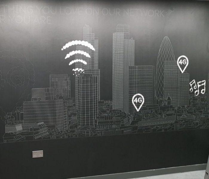 Installation of digital wallpaper for EE