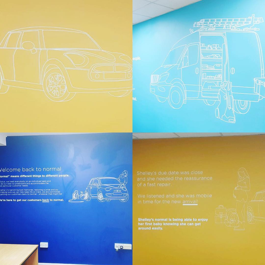 Bright wall graphics for Solus Accident Repair produced and installed last week